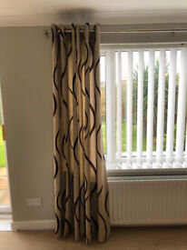 Luxury curtains -2 pairs of Beige eyelet curtains with an embossed brown velvet swirl.
