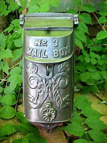 ANTIQUE VICTORIAN CAST IRON MAILBOX STANDARD No. 3 ORNATE PRIMITIVE FLORAL 1900