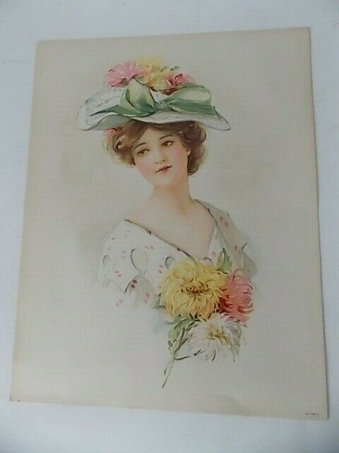 Original Victorian Lithograph Lady With Flowered Hat 98 D Copyright 1908 - $15.95