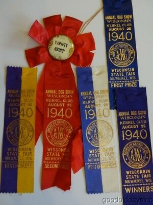 Antique Pinback Dog Show Ribbons Best in Show First Place 1940 WI State (Best In Show Ribbon)