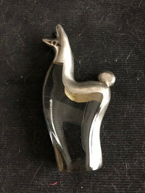 """Glass with silver overlay Llama figurine from Peru, 4"""""""
