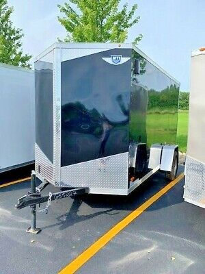 New 2019 6x12 6 X 12 V-nosed Enclosed Cargo Motorcycle Trailer Ramp Side Door