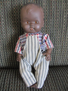 1950's Black Baby Boy Doll -in checked shirt & overalls