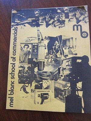 MEL BLANC School of Commercials Press kit  15 pgs 1972