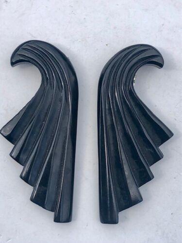 Pair of Vintage Black Bakelite Dress Clips Art Deco