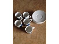 Espresso Porcelain Coffee Set - 5 x Cups and Saucers - Perfect Condition