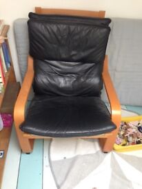 Armchair, IKEA Poang, Black Leather