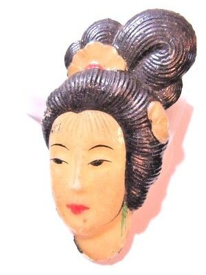 VINTAGE LUCITE PLASTIC JAPANESE WOMAN LADY PIN ONE OF A KIND HANDCRAFTED