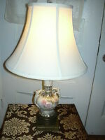 Antique English floral porcelain/ china and brass lamp