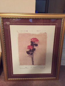 Gold-colored framed picture Giant Amazon Roses by Beth Balogh