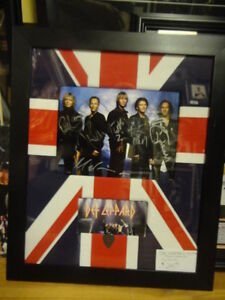 DEF LEPPARD BAND SIGNED CUSTOM FRAMED 8x10 at SLAPSHOT