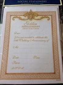 Goldern Wedding Anniversary invites 4 lots (20 sheets / envelopes x 4)