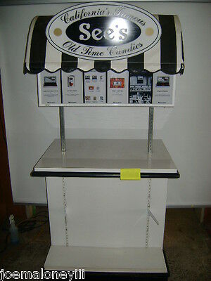 Black White Retail Candy Display Kiosk Display Stand W Canopy
