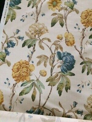 COLEFAX & FOWLER FABRIC PEONY - BLUE COLOURWAY
