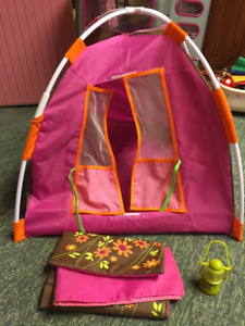 """Maplelea Pop-Up Tent  Plus Sleeping Bags for 18""""doll camping fun"""