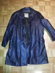 Manteau pour Homme de cuir, de laine et cuir brossé