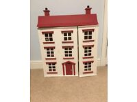 Wooden dolls house (painted white and red)