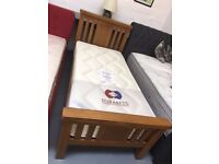 BRAND NEW ex display 3' SINGLE solid oak bed frame and mattress. £299.