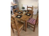 Pine table and 4 chairs - perfect for dining room or kitchen