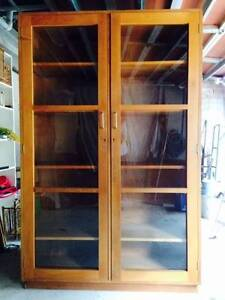 Pair Retro Fifties solid timber display cabinets, glass doors Woollahra Eastern Suburbs Preview