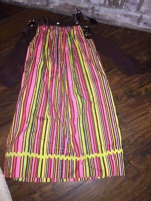 sz 4 5 Custom made pillowcase dress striped pink brown shirt under Boutique VGUC Custom Made Boutique Pillowcase
