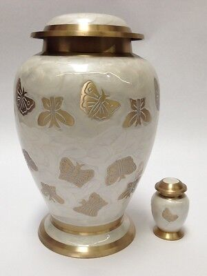 ADULT BRASS BUTTERFLY CREMATION URN NEW URNS WITH A FREE KEEPSAKE