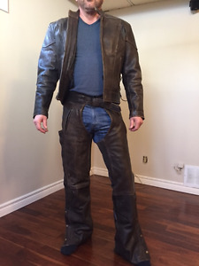 Men's leather chaps and jacket