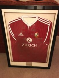 British Lions - Well presented Autographed and Framed Shirt