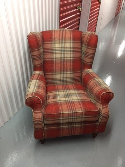 Beau Red Check Wingback Armchair By Next, Sherlock Design