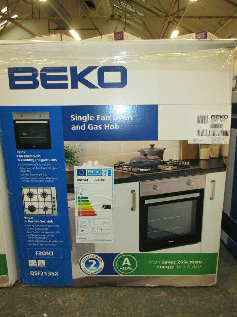 Single Fan Oven Part - 44: Beko Single Fan Oven And Gas Hob (QSF213SX) Brand New