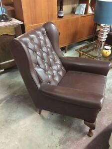 E38003 Vintage Leather Wingback Chair Armchair 2 Available Cheste