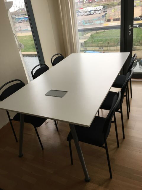 large white ikea galant conference table 6 chairs optional extra