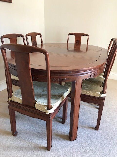 Chinese Rosewood 6/4 Seater Dining Table With 6 Chairs And Rosewood Display  Cabinet To