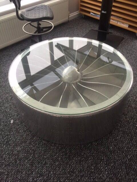 Aviator Coffee Table   Propellor   Glass Top   Round   Aeroplane Furniture  VGC Rrp £