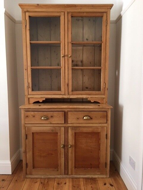 Merveilleux Lovely Old Pine Welsh Dresser With Glass Front Display Cabinet