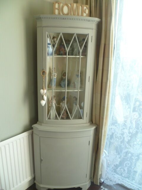 Exceptional Shabby Chic Vintage Corner Display Cabinet In Pale Grey U0026 Original White  Chalk Paint