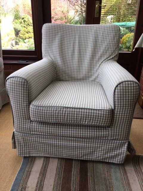 2 x Ikea Ektorp Jennylund grey gingham check armchairs & 2 x Ikea Ektorp Jennylund grey gingham check armchairs | in Melton ...