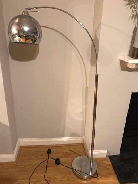 Silver Curved Dome Floor Lamp In Fantastic Condition   £60 New