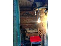 Brick Built Garden Shed with electric, bed, table, chairs, radio and heating