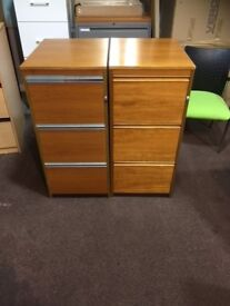 USED WOODEN THREE DRAWER FILING CABINETS