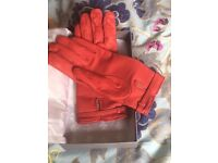 Genuine Mulberry Red leather gloves