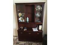 Dresser / display cabinet, solid wood with glass doors, £100.