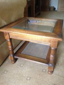 Glass topped side table