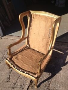 Old Wing Back Chair for sale. Solid wood.