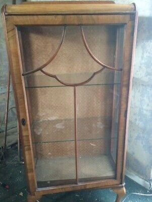Vintage Walnut & glass, claw footed China Cabinet. Victorian? Pre-owned.
