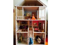 Dolls House - Beautiful Retro Wooden, large, fits barbies.