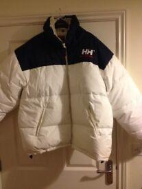 Mens retro stylish Helly Hansen white puffa jacket size xl