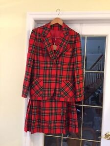 TARTAN KILT & BLAZER OUTFIT - RED IN COLOR - SIZE 13-14