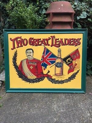 Breweriana Retro Hand Painted Original ENGLISH PUB SIGN Two Great Leaders