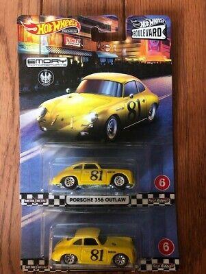 2x LOT Hot Wheels 2020 Premium Boulevard Porsche 356 Outlaw *FREE SHIPPING*